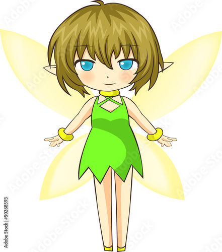 La pose en embrasure Fées, elfes Vector Illustration of cute green little fairy