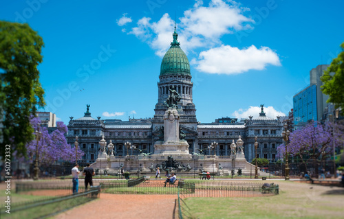 Photo sur Toile Buenos Aires Congress Plaza and Building in Buenos Aires