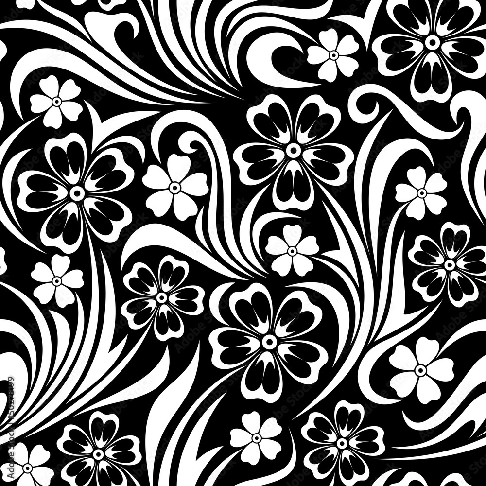 Wall Murals Seamless Floral Pattern Vector Illustration Nikkel Art