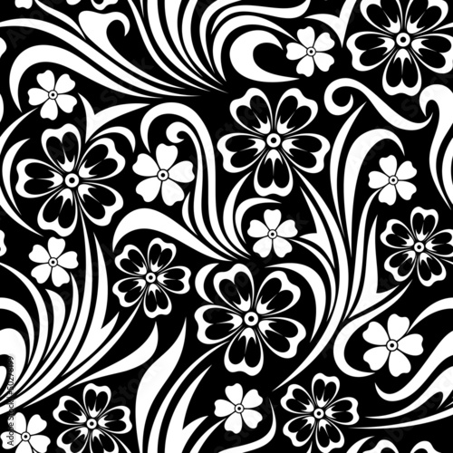 Spoed Foto op Canvas Bloemen zwart wit Seamless floral pattern. Vector illustration.