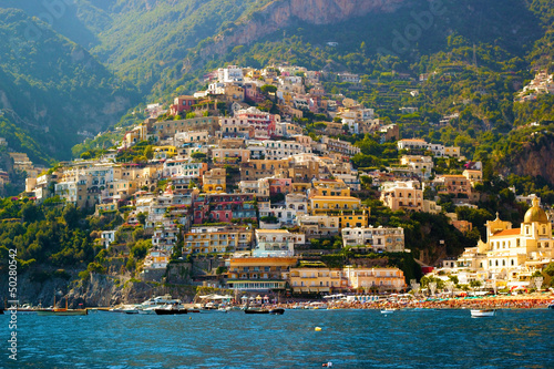Photo sur Toile Naples Positano, Amalfi Coast
