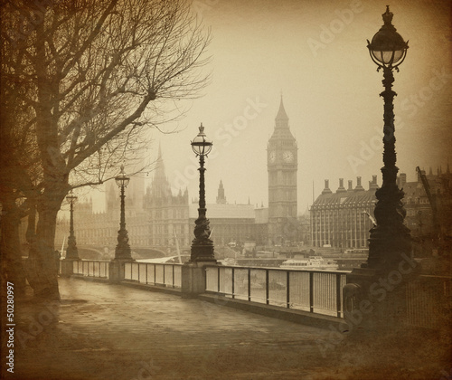 Spoed Foto op Canvas Londen Vintage Retro Picture of Big Ben / Houses of Parliament (London)