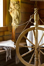 Vintage Traditional Spinning Wheel, Distaff With Yarn In Wooden