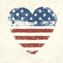 Heart Shaped American Flag. Ve...