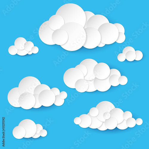 Poster Hemel Abstract paper clouds