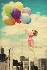Fototapeta Romantyczny art collage with beautiful woman