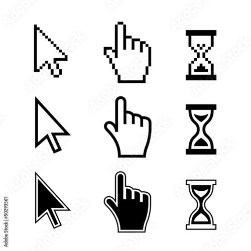 Cuadros en Lienzo  Pixel cursors icons. Hand Arrow Hourglass