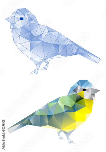 Poster Geometric animals birds with geometric pattern