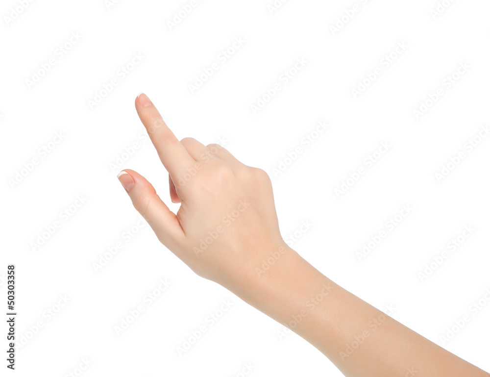 Fototapeta isolated female hand touching or pointing to something