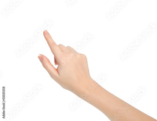 Photo isolated female hand touching or pointing to something