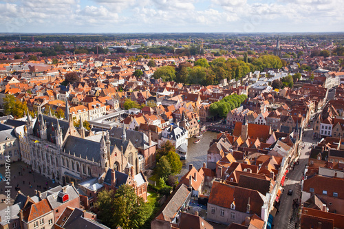 Recess Fitting Deep brown Panorama of the central part of Bruges
