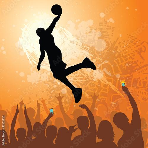 Photo  basketball dunk grunge design