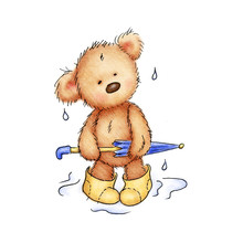 Drawing Of Teddy Bear With Umbrella