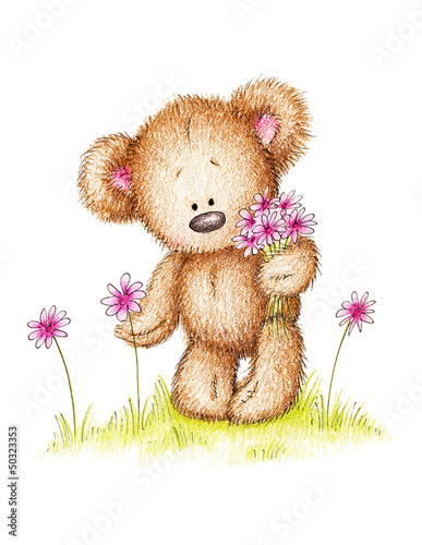 Fotografie, Obraz  drawing of teddy bear with pink flowers