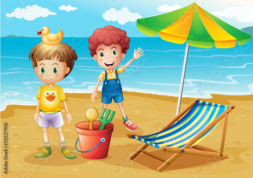 Ingelijste posters Rivier, meer Kids at the beach with an umbrella and a foldable bed