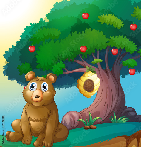 Tuinposter Beren A bear in front of a big apple tree with a beehive