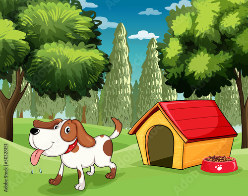 In de dag Honden A dog with a doghouse and a dogfood near the trees