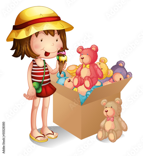 Fotobehang Beren A young girl beside a box of toys