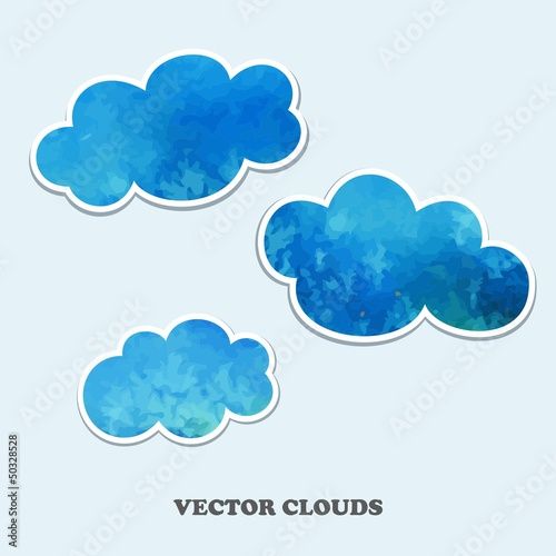Poster Hemel Vector clouds. Design Elements.