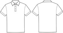 Vector Illustration Of Polo T-shirt. Front And Back Views