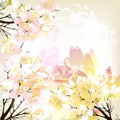 FototapetaCute floral spring vector background with pink fresh flowers