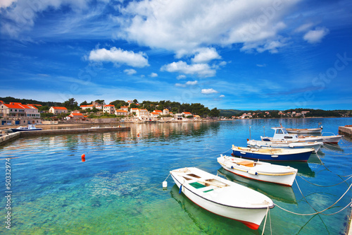 Fotografie, Obraz  boats in marina of Lumbarda, Croatia