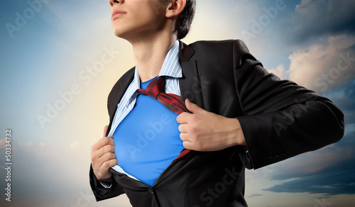 Young superhero businessman Canvas Print