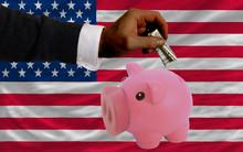 Dollar Into Piggy Rich Bank An...
