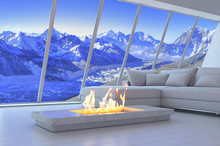 White 3D Interior Room With Fi...