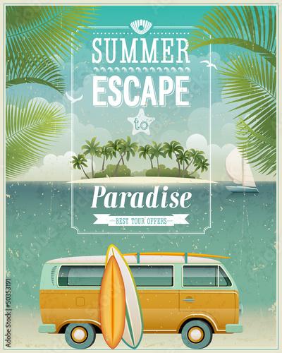 plakat Vintage plakat z widokiem nad morzem surfowanie van. Vector tle.
