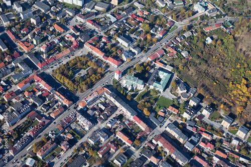aerial view of Pinczow town in Poland © mariusz szczygieł