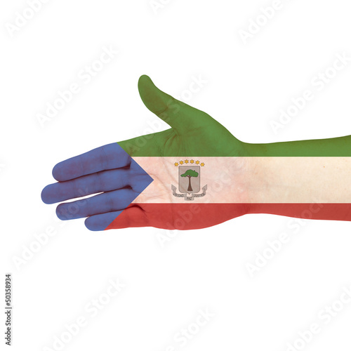 Fotografía  Equatorial Guinea flag on hand isolated on white background