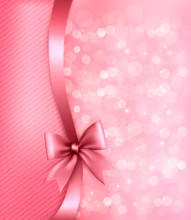 Holiday Pink Background With Old_paper And Gift Bow And Ribbon.