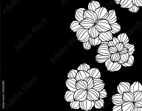 Poster Floral black and white 和柄パターン