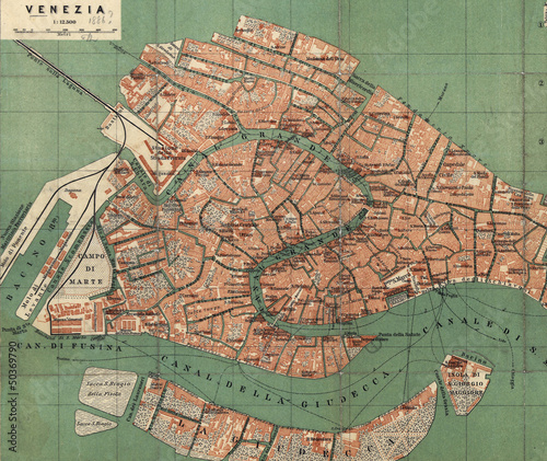 Fototapeta Venice old map