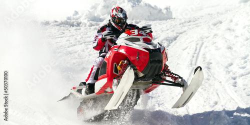 Obraz red snowmobile - fototapety do salonu