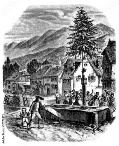 Alsace-Vosges : Trad. Christmas/NewYear - 19th century Wallpaper Mural