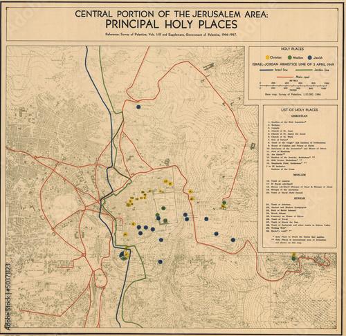 Obraz na plátně Jerusalem old map