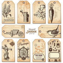Set Of 10 Retro Garden Tags