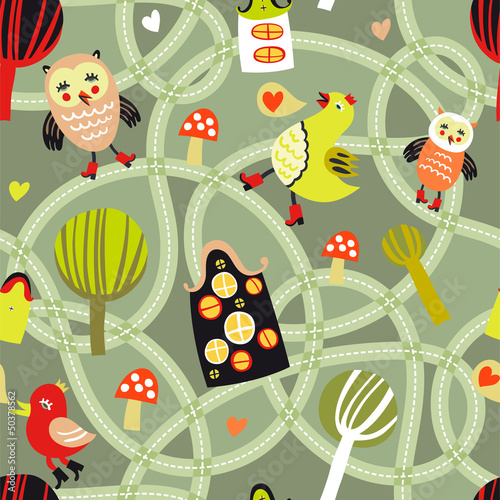 Poster Op straat Cute seamless pattern with road, houses and birds