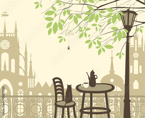 Tuinposter Drawn Street cafe outdoor cafe in the old town with cat spider