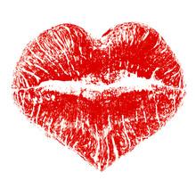 Lipstick Kiss In Heart Shape