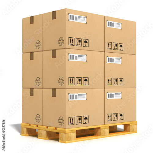 Stampa su Tela Cardboard boxes on shipping pallet