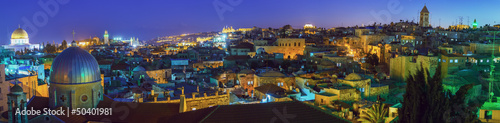 Spoed Foto op Canvas Grijze traf. Panorama - Old City at Night, Jerusalem