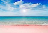 różowa plaża i słońce - 50403980