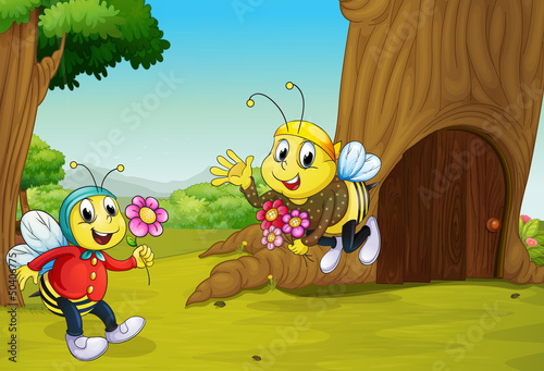 La pose en embrasure Forets enfants The two bees near a treehouse
