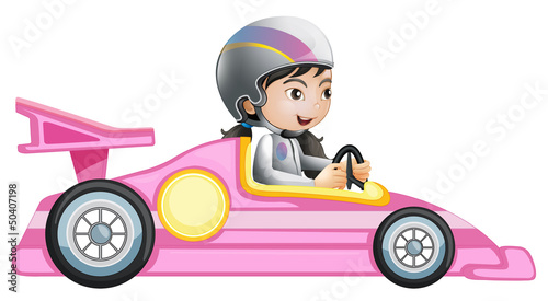 Keuken foto achterwand Cars A girl riding in a pink racing car