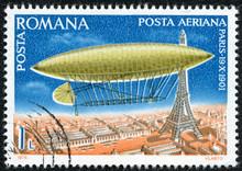 Stamp Shows Santos Dumont Dirigible Over Paris