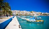 promenade in Mediterranean town Sitia Greece Crete