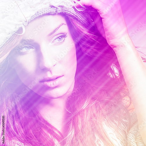 Recess Fitting Beauty Beautiful fashion woman. Color face pop art photo toned pink.